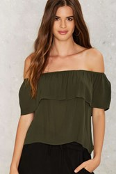 Montage Off The Shoulder Top Olive Green