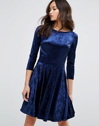 Club L Velvet 3 4 Sleeve Skater Dress Crushed Navy Multi