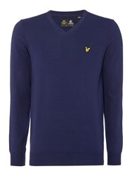 Lyle And Scott V Neck Long Sleeve Jumper Navy