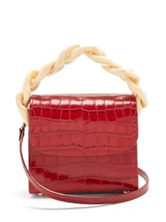 Marques Almeida Oversized Curb Chain Quilted Leather Shoulder Bag Red