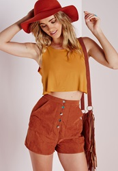 Missguided Tie Back Vest Mustard Yellow