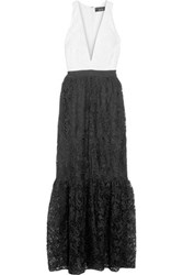 Noir Sachin And Babi Vanessa Two Tone Guipure Lace Gown Black