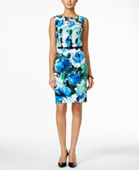Connected Belted Sleeveless Floral Print Sheath Dress Medium Blue