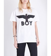 Boy London Eagle Embroidered Cotton Jersey T Shirt White