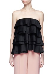 C Meo Collective 'Never Mind' Strapless Tiered Pleat Bustier Top Black