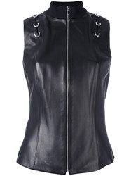 Thierry Mugler Leather Vest Black