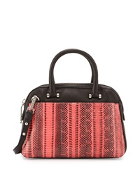 Milly Mercer Watersnake Combo Dome Satchel Bag Fluorescent Coral