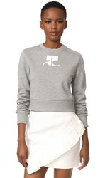 Courreges Fleece Sweater Gris And Blanc