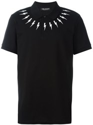 Neil Barrett Lightning Bolt Print Polo Shirt Black