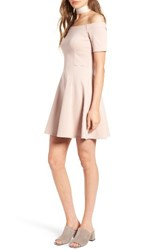 Socialite Women's Off The Shoulder Fit And Flare Dress Nude