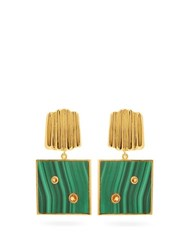 Lizzie Fortunato Green Wave Malachite And Gold Vermeil Earrings Green