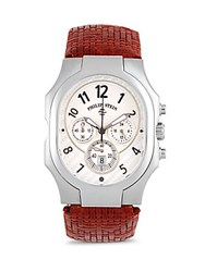 Philip Stein Teslar Stainless Steel And Leather Strap Quartz Watch Brown