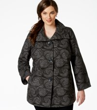 Jm Collection Woman Jm Collection Plus Size Printed Wing Collar Coat Only At Macy's Magic Swirl