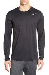 Men's Nike 'Legend 2.0' Long Sleeve Dri Fit Training T Shirt Black Black Matte Silver