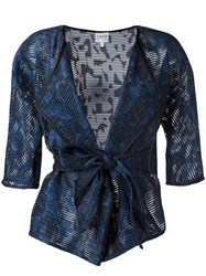 Armani Collezioni Sheer Belted Jacket Blue