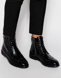 Asos Brogue Boots In Black Leather With Wedge Sole