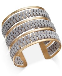 Inc International Concepts Gold Tone Faux Suede Wrapped Cuff Bracelet Only At Macy's Grey
