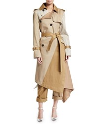 Monse Two Tone Patchwork Khaki Twisted Trench Coat