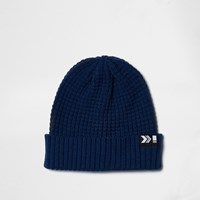 River Island Mens Blue Knit Ribbed Fisherman Hat