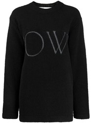 Off White Logo Knitted Jumper Black