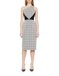 Theia Floral Print And Solid One Shoulder Midi Dress Black White