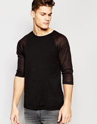 Asos Long Sleeve T Shirt With Sheer Slub Contast Raglan Sleeves In Black Black