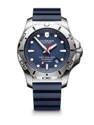 Victorinox Inox Stainless Steel Professional Rubber Strap Watch Blue