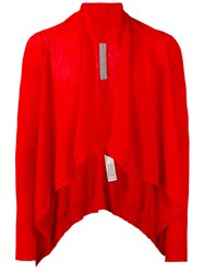 Rick Owens Cropped Open Cardigan Men Cotton M Red