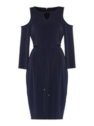 Episode Dress With Waist Tie And Cold Shoulder Navy