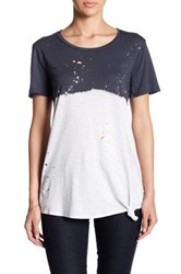 Socialite Holey Dip Dye Side Tie Tee White