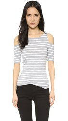 Bailey44 Short Sleeve Deneuve Top Heather Grey Stripe