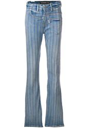 Filles A Papa Striped Elvis Flared Jeans Blue