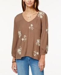 O'neill Juniors' Caroline Embroidered Peasant Top Olive