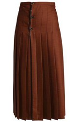 Marco De Vincenzo Lace Trimmed Pleated Wool Midi Skirt Brown