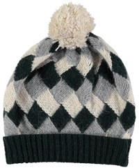 Lowie Virgin Wool Patchwork Beanie In Forest Green Grey And Oatmeal