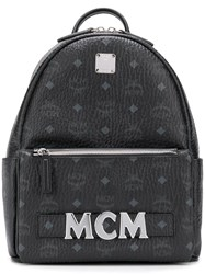 Mcm Printed Logo Backpack Black