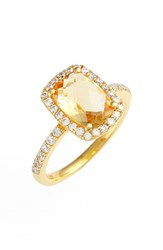 Women's Lafonn 'Aria' Rectangle Cushion Cut Ring Gold Citrine