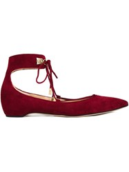 Paul Andrew Ankle Strap Ballerinas Red