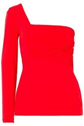 Antonio Berardi Woman One Shoulder Ruched Stretch Jersey Top Red