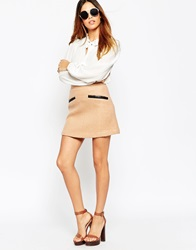 Asos Wool Mix A Line Mini Skirt With Contrast Pu Pockets Camel