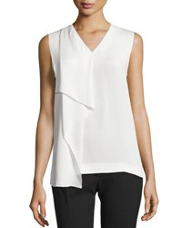 Joseph Hardy Sleeveless Silk Ruffle Blouse Off White