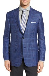 Hickey Freeman Men's Classic Fit Windowpane Cashmere And Silk Sport Coat