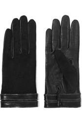Agnelle Gisele Zip Trimmed Leather And Silk Gloves Black