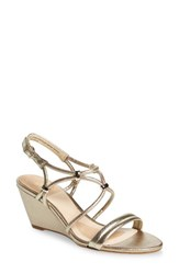 Isola Women's Farah Wedge Sandal Satin Gold Leather