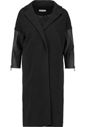Kaufman Franco Kaufmanfranco Leather Paneled Wool Blend Coat Black