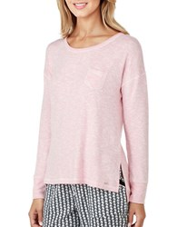 Kensie Scoopneck Long Sleeve Pajama Top Pink
