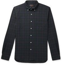 Beams Plus Button Down Collar Black Watch Checked Cotton Shirt Blue