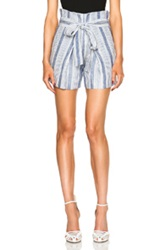 Jenni Kayne Baja Stripe Paper Bag Linen Shorts In Blue White Stripes