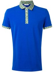 Dirk Bikkembergs Print Collar Polo Shirt Blue
