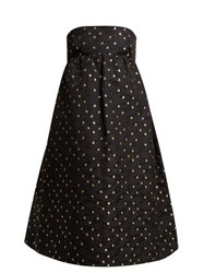 Rochas Rose Jacquard Cotton And Silk Blend Midi Dress Black Multi
